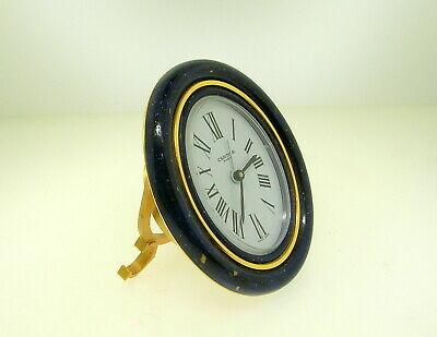"""Cartier Baignore Travel Alarm Clock With Blue Enamel - 3 1/2"""" Tall - Best Offer!"""