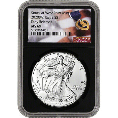 2020-(W) American Silver Eagle - NGC MS69 - Early Releases - Purple Heart Black