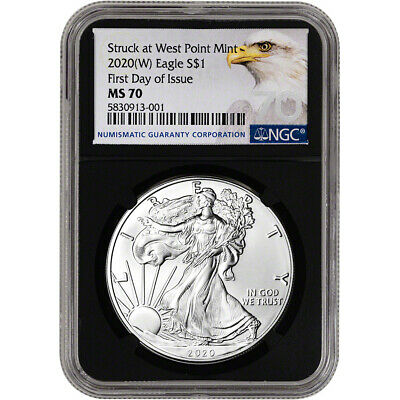 2020-(W) American Silver Eagle - NGC MS70 - First Day of Issue - Grade 70 Black