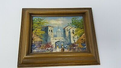 Exceptional original vintage miniature oil painting,framed, signed Mexico 5 x 7