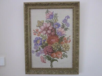 Gorgeous Vintage Framed Bunch Of Flowers Hand Worked Tapestry Picture