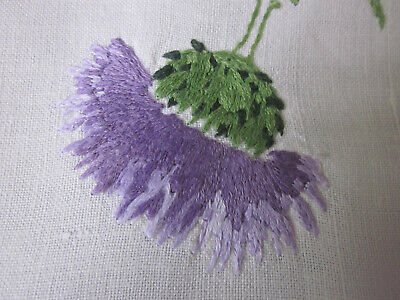 Vintage Hand Embroidered Scottish Thistle Centre Piece