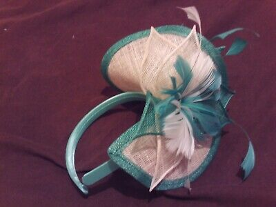 Used 'ONCE' Green & Ivory Headband Floral / Feather Sinamay Fascinator