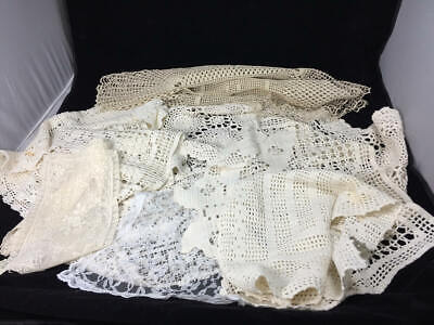 Lot 13 Vintage Hand-Crocheted & Embroidered Square & Rectangular Table Linens