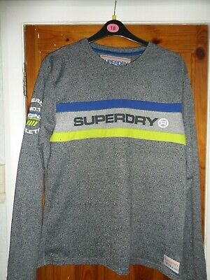 """Mens Superdry Long Sleeved T Shirt Sports Athletic 44"""" Chest Size Xl"""