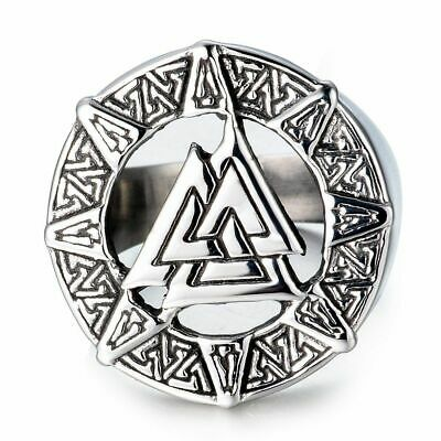 Punk Stainless Steel Band Finger Ring Ancient The Vikings Valknut Knot Nordic