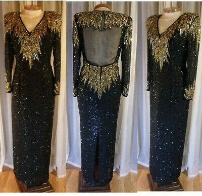 Lady 12 Black Long Silk Gown Beads Gold Sequins Woman Dress Large Sheer Back VTG