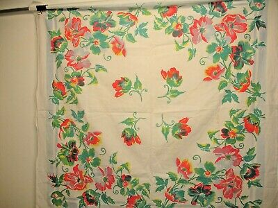 Vintage Square Tablecloth, Flowers, Buttercup Perhaps, 46 X 46  Inches