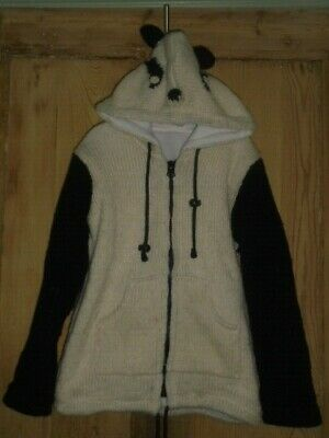 Girls Knitted Black & White Panda Hooded Zip Jumper Jacket Fleece Lined - Age 8