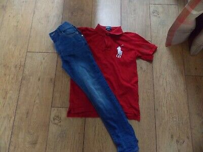 Boys Ralph Lauren Polo Shirt Next Skinny Jeans Age 9-10 Years