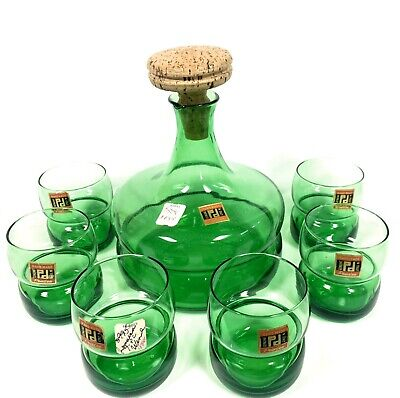 Vtg 7 Pc Peedee Italy Green Glass Decanter & Cordial Glasses Set Mid Century MCM
