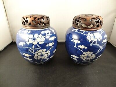 Pair Antique Chinese Blue White Prunus Blossom Ginger Jars double ring mark