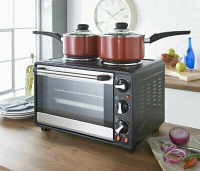 Mini Oven Rotisserie and Double Hot Plates, 26 Litre, 26 liters Black TWIN HOBS
