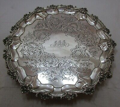 Good Antique Victorian Sterling silver salver, 1858, 635 grams, 10.5 inches