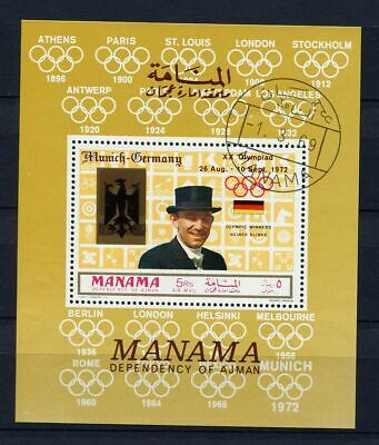 Manama : Olympia Souvenir sheet from 1969 - CTO