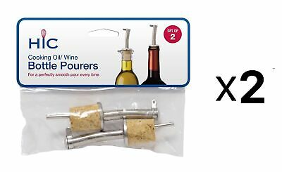 Harold Stainless Steel Wine Oil Pourer w/ Natural Cork Stoppers (2-Packs of 2)