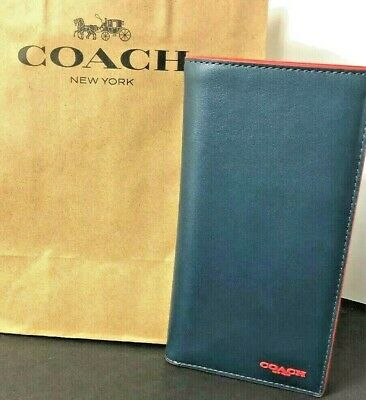 COACH Slim Passport Card Wallet Colorblock Blue Red F84742 $190 New
