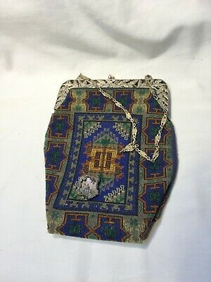 Fratelli Coppini Silver Framed And Beaded Art Deco Period Bag Purse - Very Nice