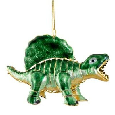 Green Dinosaur Articulated Cloisonne Metal Christmas Tree Ornament Dino New