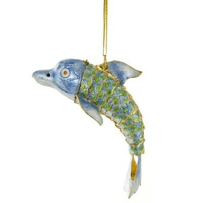 Green and Blue Dolphin Articulated Cloisonne Metal Christmas Tree Ornament New