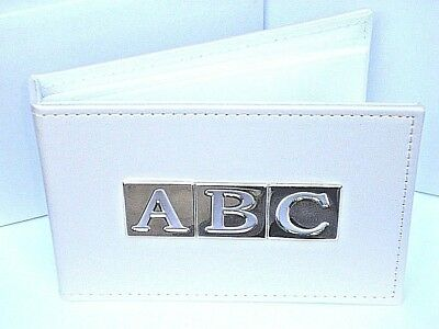 Christening / Baby Shower Gift Photo Album Cream Leather Style/Silver Plated Abc