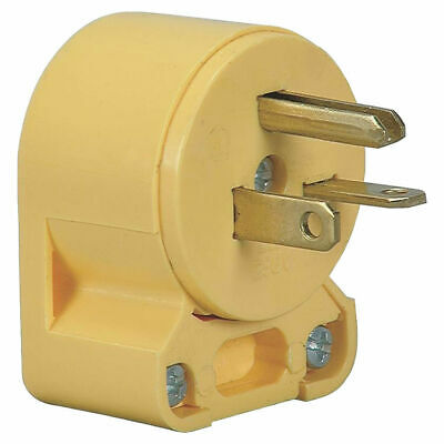 Cooper 4509AN-BOX Grounded Angled Electrical Plug, 125 VAC, 20 A, 2 P, 3 W,