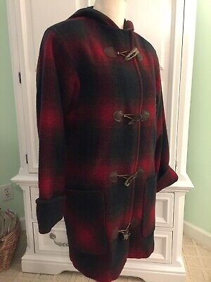 Vintage Lands End  Wool Duffle Coat Red Blue Plaid Toggle Hood Lined Size 4 USA