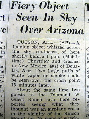 1951 newspaper w news of a possible UFO / FLYING SAUCER seen over Tucson ARIZONA