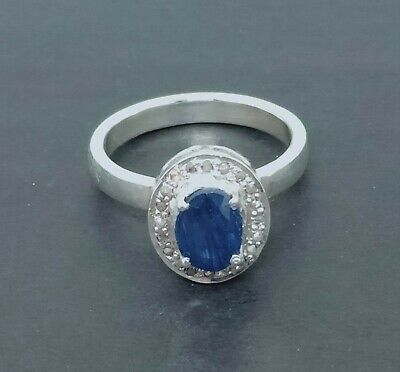 Amazing G F Sapphire Gems Sterling Silver With Pave Diamond Antique Cluster Ring