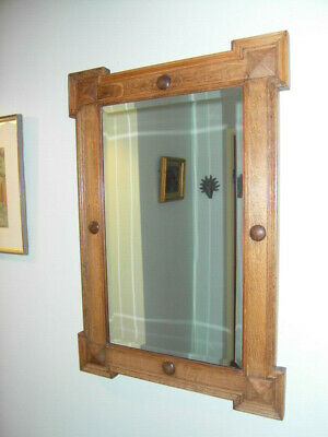 ARTS AND CRAFTS ** Hall Mirror bevelled glass ** 55.5cm wide  x 81cm tall