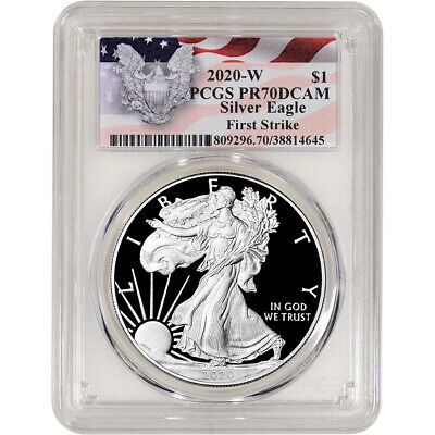 2020-W American Silver Eagle Proof - PCGS PR70 DCAM First Strike Red Flag Label