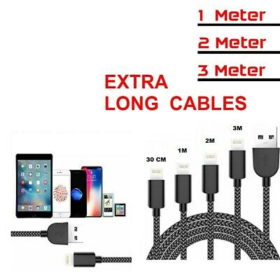 Heavy Duty Braided Lightning USB Charger Cable 1M 2M 3M For iPhone XS 7 6 5 iPad