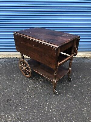 Ethan Allen Dark Antiqued Pine Old Tavern Tea Cart