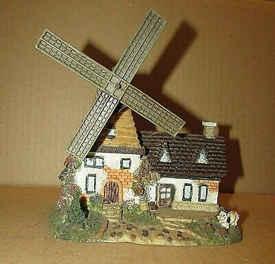 Old Hand Painted Plaster Village Dutch Windmill Country House Building FREE S/H