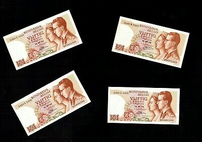 CS   263     Belgium   50   francs Banknotes never circulated top quality x 4