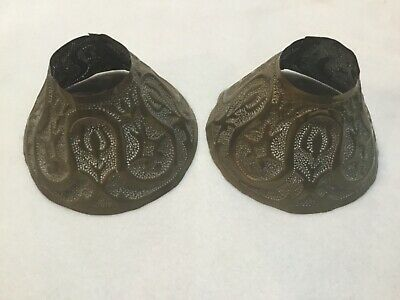 2 Antique Arts & Crafts Period Hammered Brass Small Lamp Shades Newcomb College