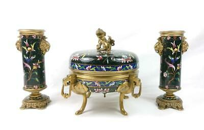 Antique French Champleve Enamel Ormolu Oriental Barbedienne Style Garniture Set