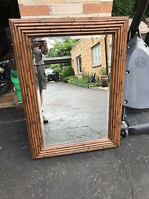 Ethan Allen Tango Collection Large Bamboo Wooden Wall Mirror