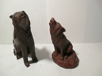 Red Mill MFG Pecan Shell Resin Howling Coyote Wolf Figurine & Wood Carved Wolf