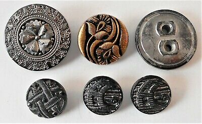 6 Vtg Antique Black Glass Buttons Silver or Gold Luster 1-Metal Shank 2-Letter A