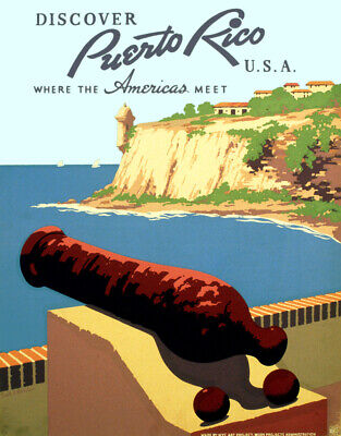 "Vintage Travel Poster CANVAS PRINT Puerto Rico sea 16""x12"""
