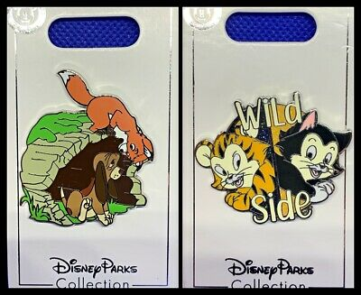 Disney Parks 2 Pin Lot Fox and the Hound + Figaro Wild Side cat - NEW