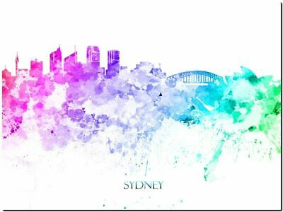 Sydney City Skyline Australia watercolor Abstract Canvas Art Print 16x12""
