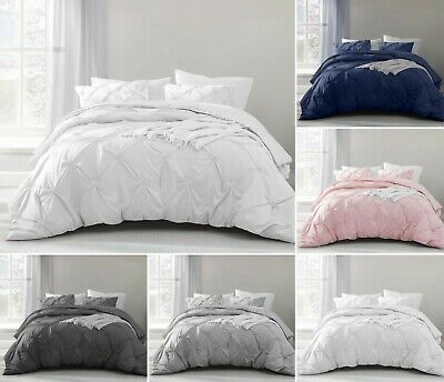 Pintuck Pleated Duvet Cover and Pillowcase(s) Cotton Rich Soft Bedding Set