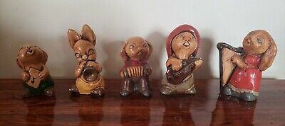 Vintage Ceramic Musical Instrument Bunnies Bunny Figurines Rabbits Numbered Lot