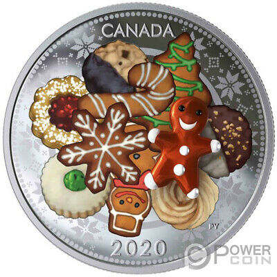 HOLIDAY COOKIES Murano Christmas 1 Oz Silver Coin 20$ Canada 2020