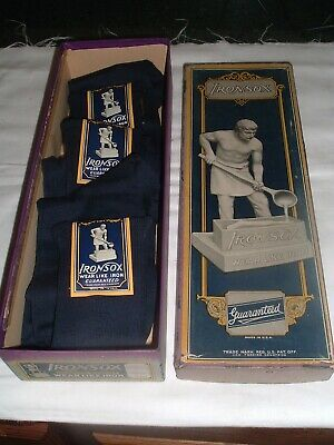 Antique Deadstock NOS New Old Stock SOCKS 3 pair w/Box MINT IRONSOX