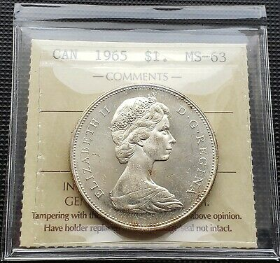1965 Canada Silver $1 Dollar Coin *** ICCS Graded MS-63, Type V ***