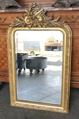 French Louis Philippe Gilt Mirror, Wall, Overmantle, Giltwood, Circa 1900