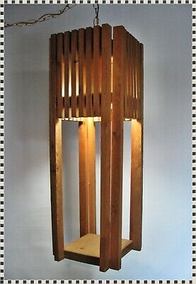 Vintage MID CENTURY 70's Wood Slats Large Hanging Chain Swag Lamp Light